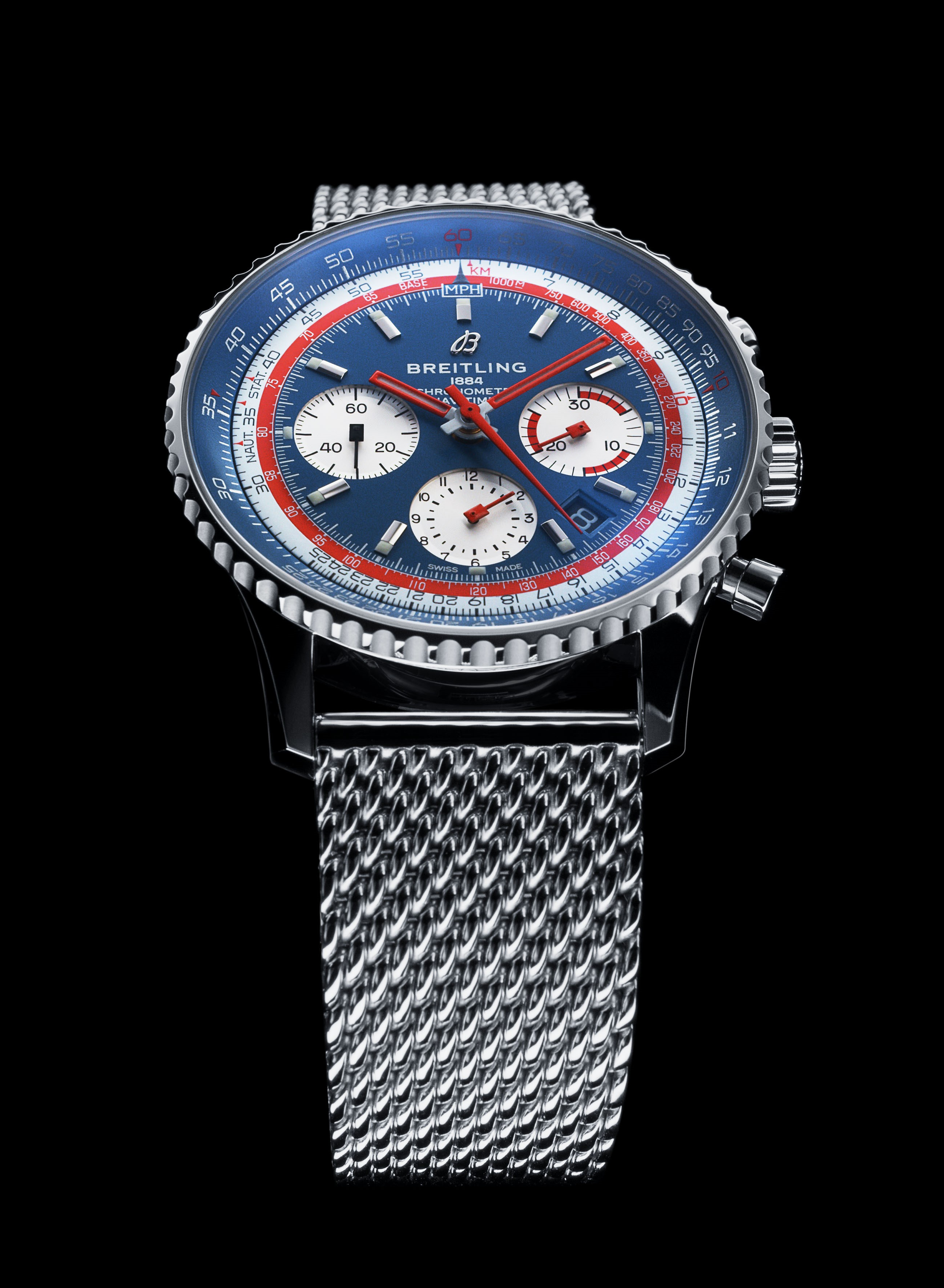 Navitimer 1 B01 Chronograph 42 Pan Am Edition with blue dial and a stainless steel mesh-bracelet (PPR/Breitling)