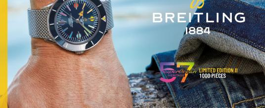 Regenbogenbunte Sonderedition von Breitling